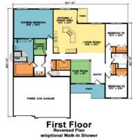 Winslow 1st Floor – Reversed Ranch Home Plan with optional Walk-In Shower